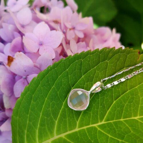 rosenkvarts halsband silver