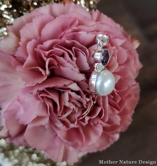 halsband silver pärla och ametist